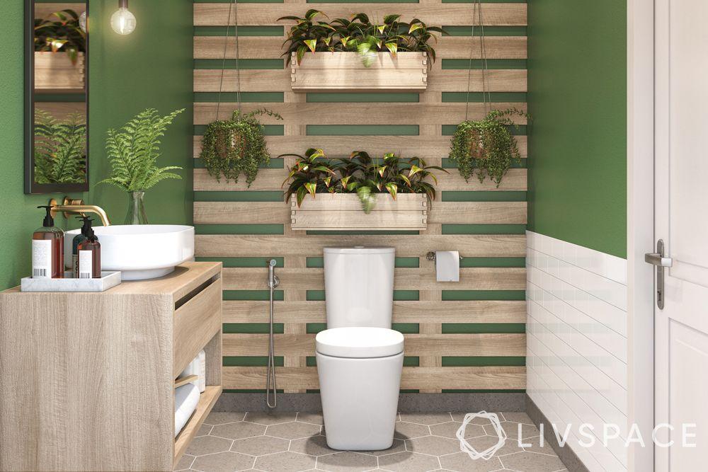 modern bathroom ideas–green walls–wooden wall pallet