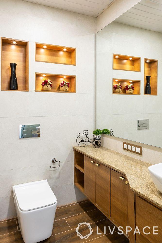 modern bathroom ideas–wooden flooring–extended mirror