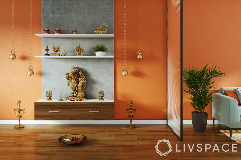wooden-temple-for-home-floating-unit-orange-wall-grey-panel