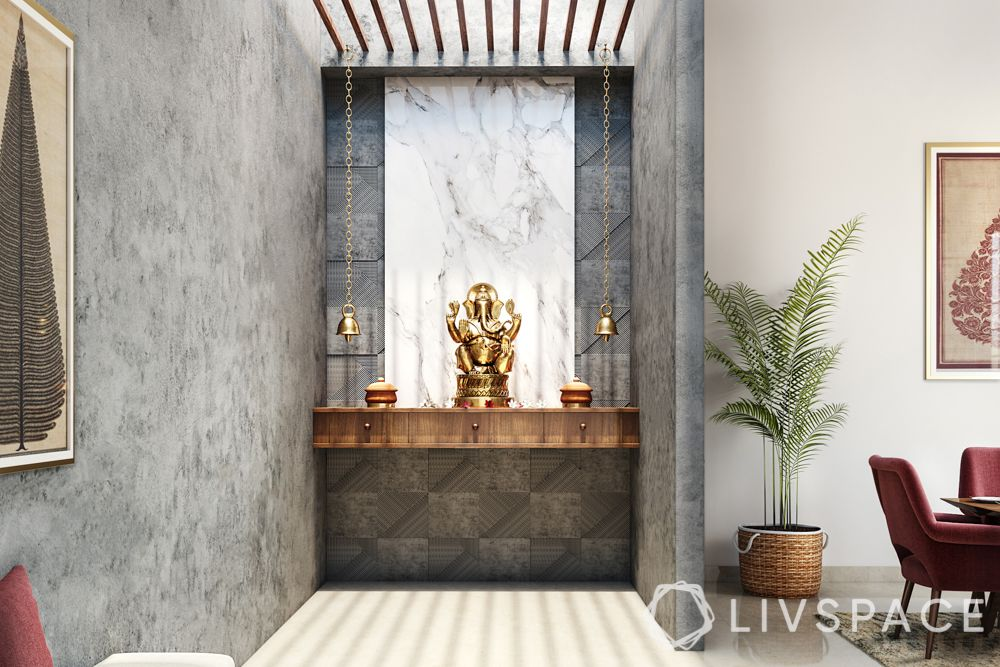 wooden-temple-for-home-grey-wall-floating-wooden-console-white-marble-ganesh-murti