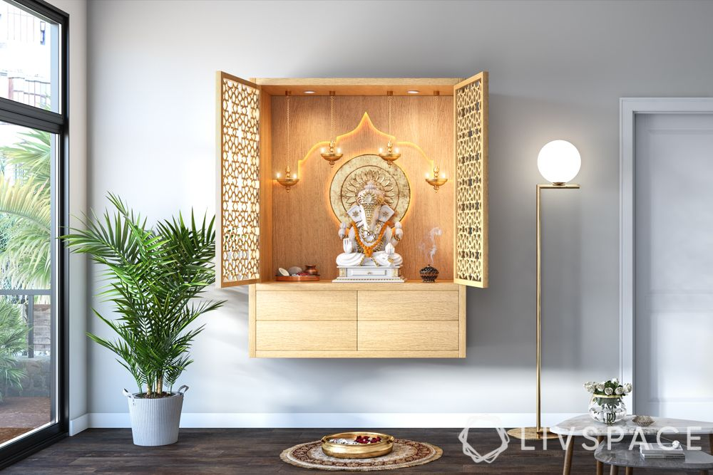 wooden-temple-for-home-light-wood-floating-unit-minimal-white-walls
