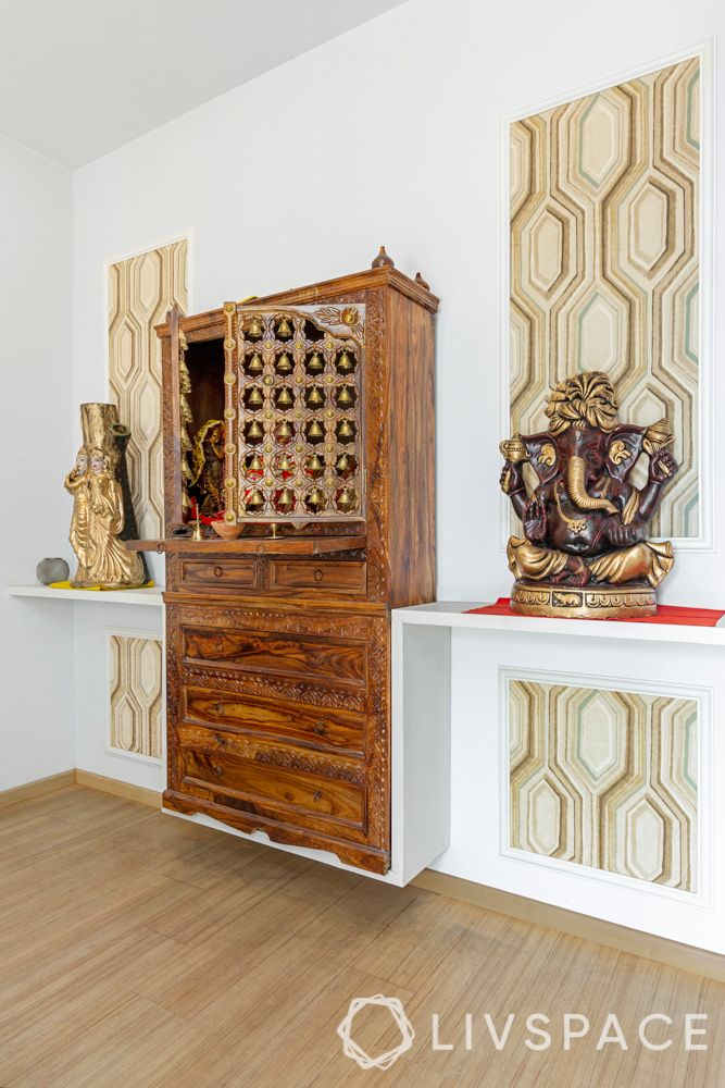 wooden-temple-for-home-solid-wood-cabinet-bells-traditional-white-walls