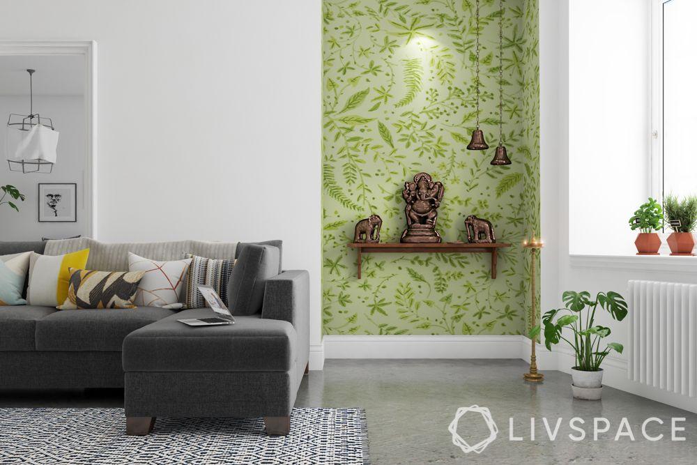 wooden-temple-for-home-green-wallpaper-wooden-shelf