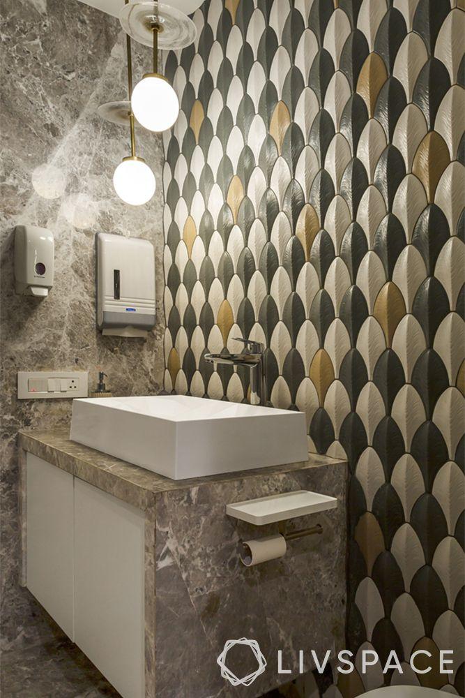 modern bathroom ideas–yellow-grey wall pattern–rectangular sink