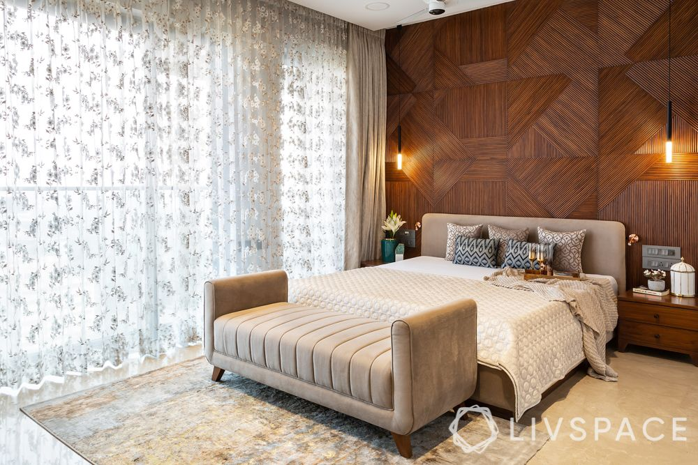 bedroom-colour-bed-with-seating-sheer-curtains