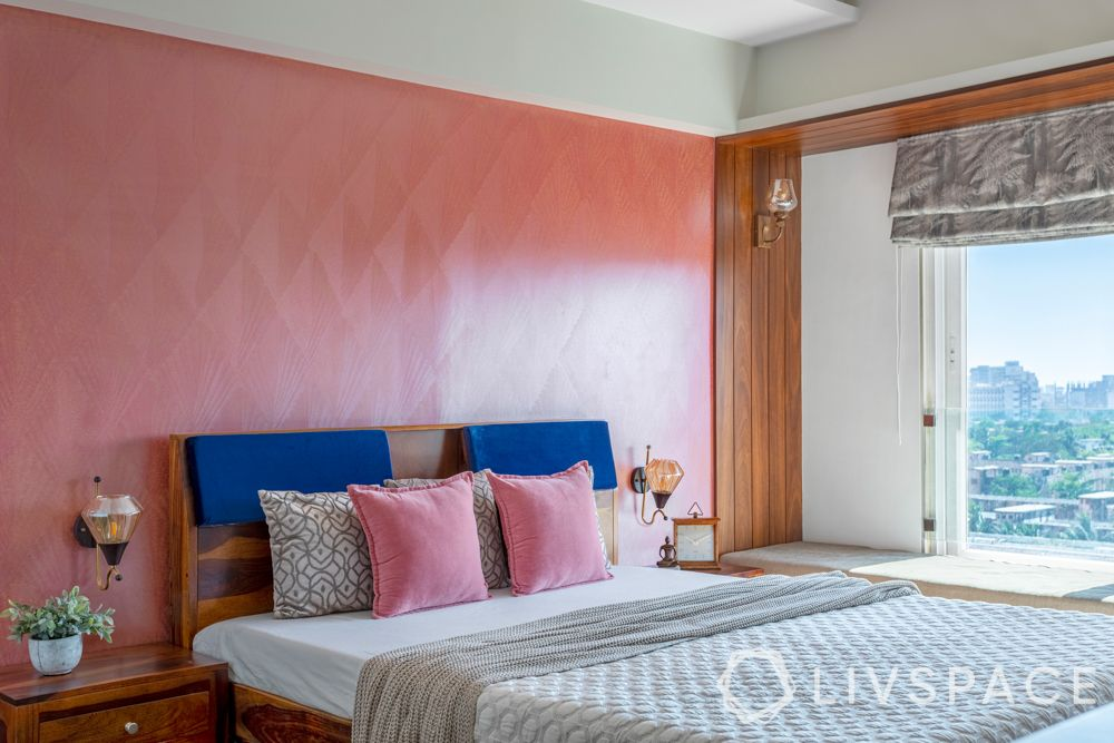 bedroom-colour-pink-accent wall-pink-toss-pillows