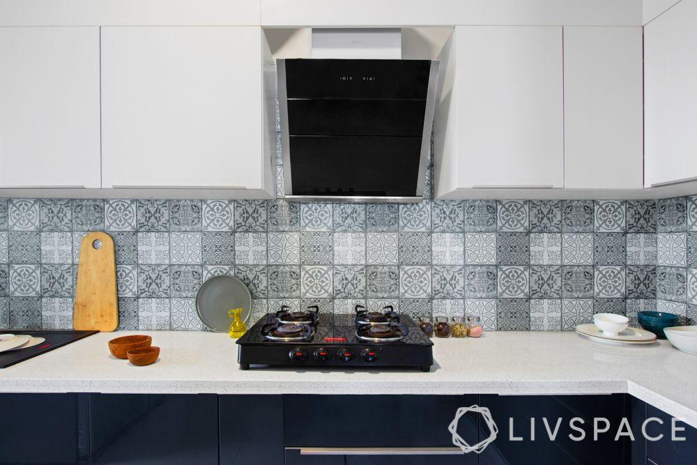 countertop design-white colour-blue kitchen