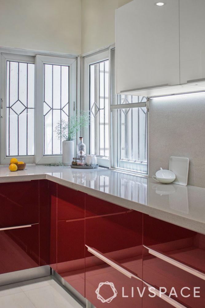 countertop design-white slab-red kitchen