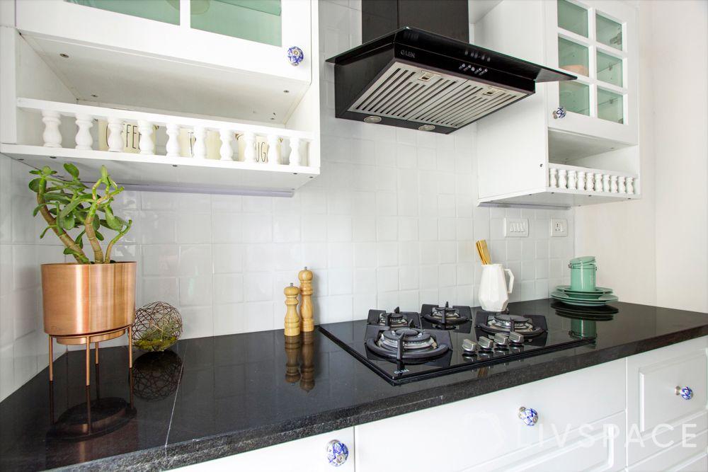 countertop design-white kitchen-black countertop