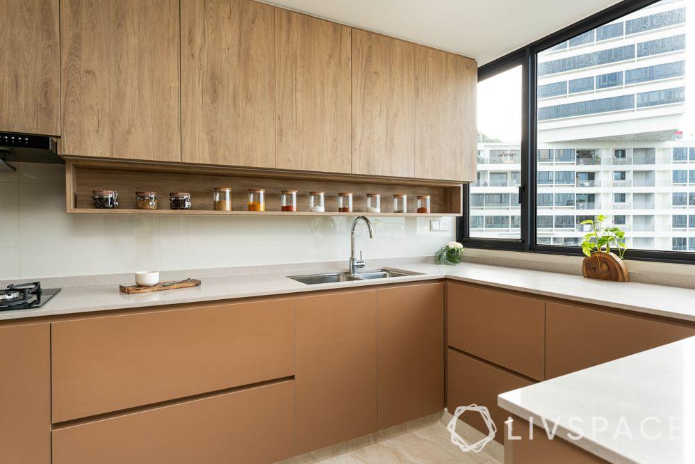 countertop design-white quartz-brown cabinets