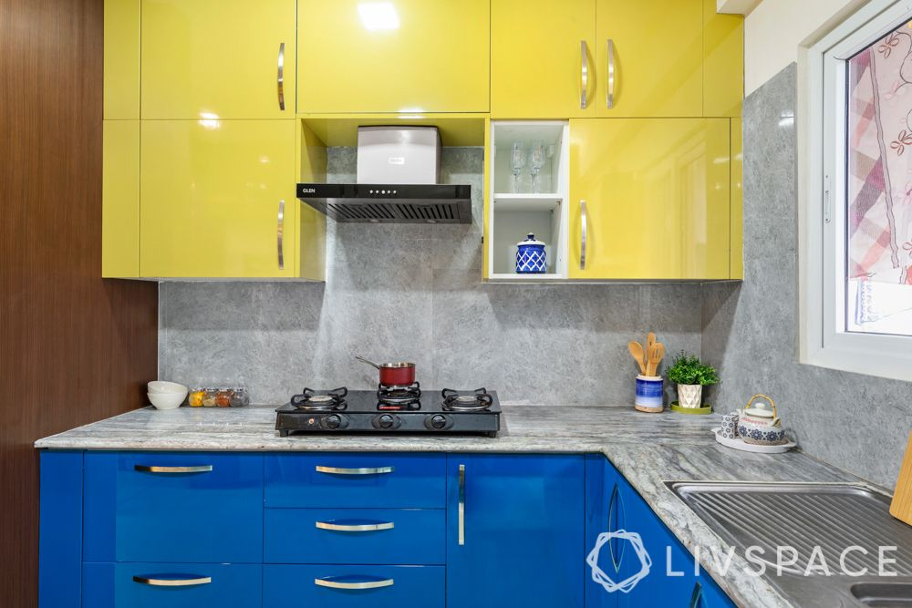 countertop design-colourful kitchen-marble slab