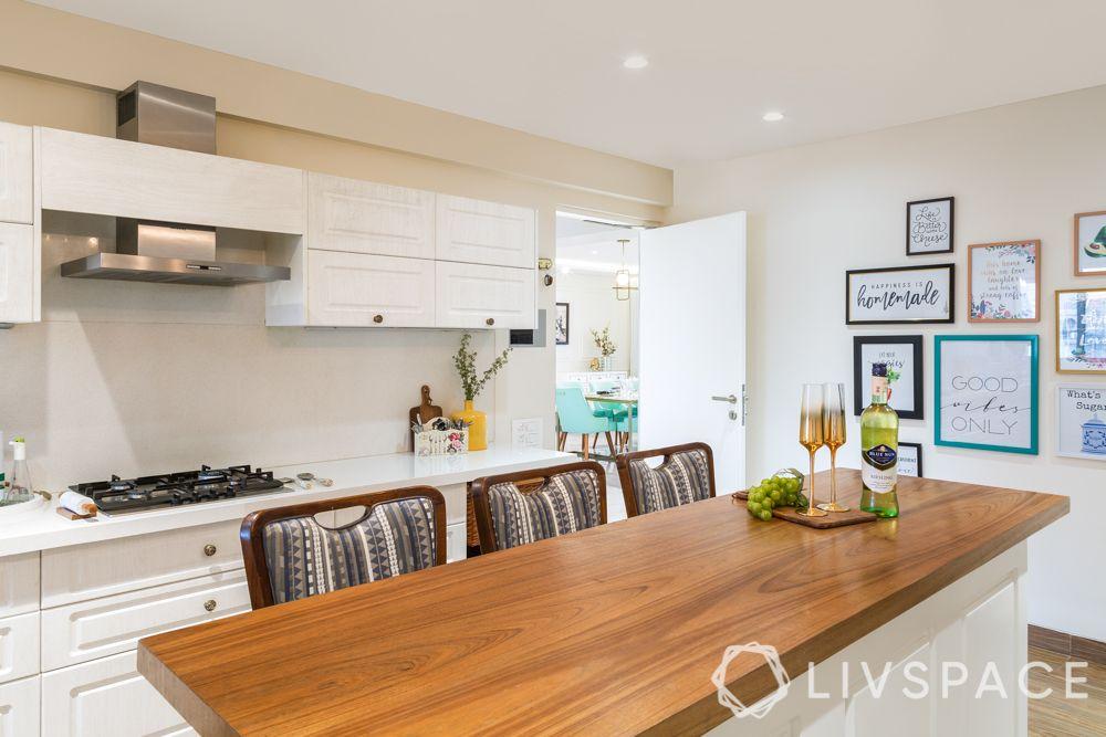countertop design-wooden countertop-white kitchen