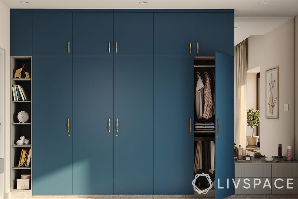 hdf-blue wardrobe-wardrobe with dressing unit