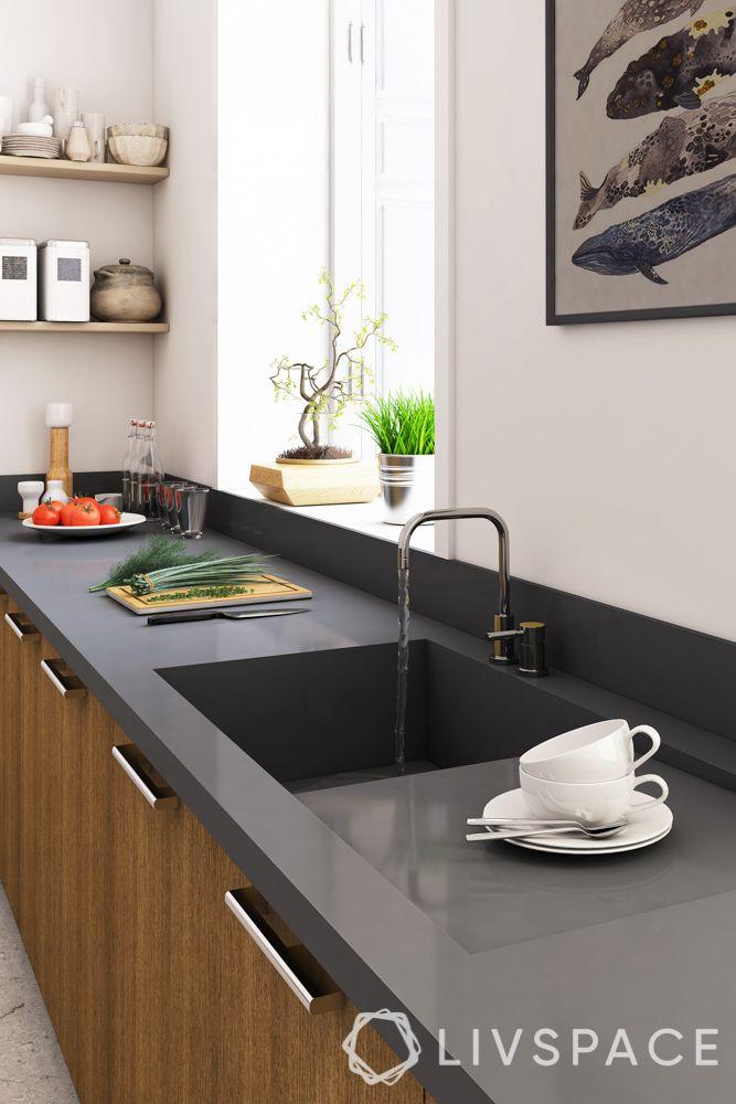 countertop design-black-smooth countertop with sink