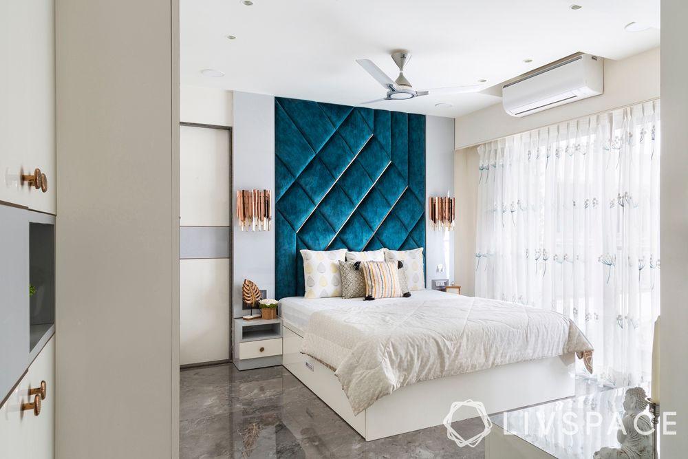 bedroom design ideas-art deco bedroom-blue headboard