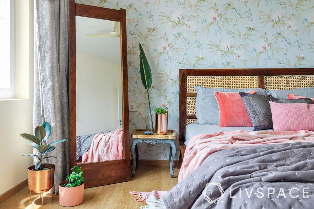 bedroom design ideas-bohemian bedroom-rattan cane bed