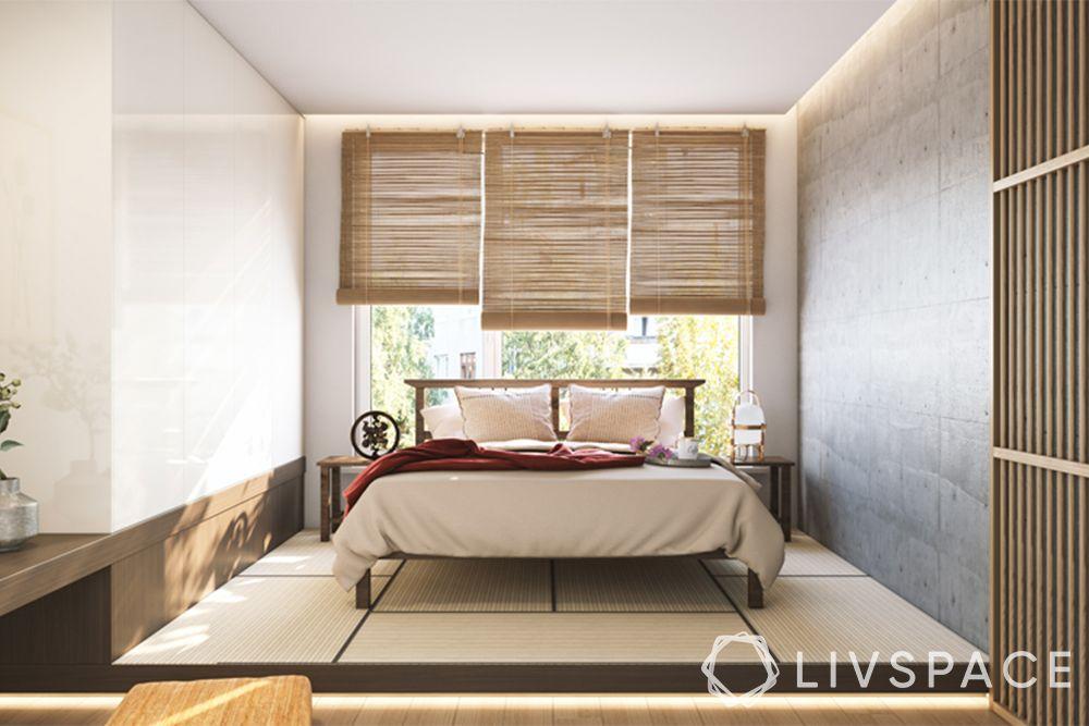 bedroom ideas-zen bedroom-bamboo blinds