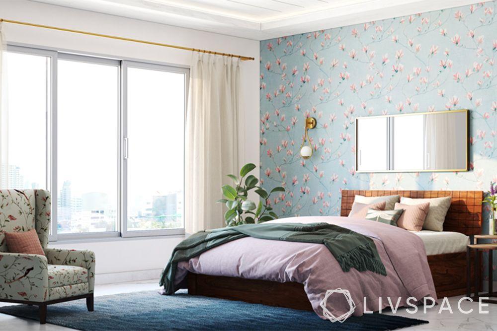 bedroom ideas-tropical bedroom-floral wallpaper