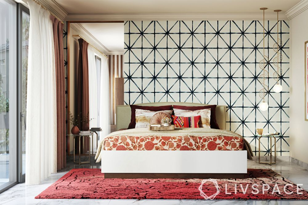 bedroom ideas-maximalist bedroom-red rug