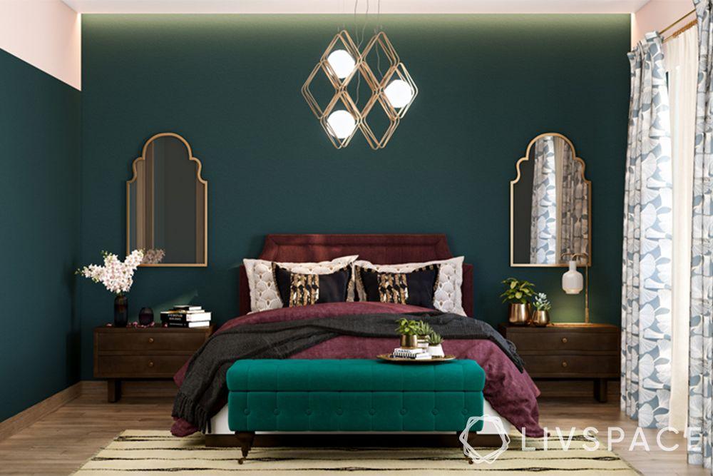 bedroom ideas-hollywood regency bedroom-green wall