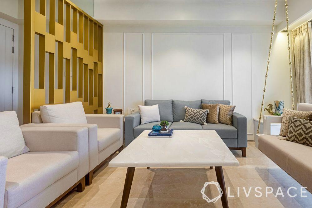 3 BHK flats in Mumbai-metal gold partition-sofa