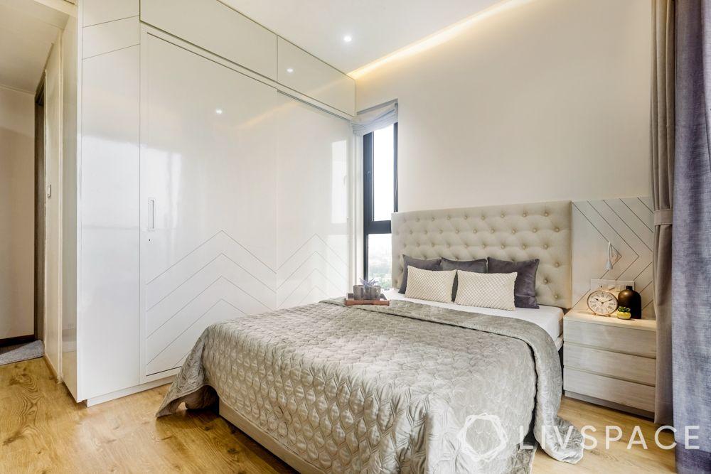 3 BHK Flats in Mumbai-high gloss laminate wardrobe-bed-storage side table