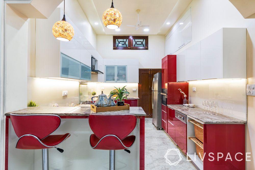 open kitchens-red kitchen-lighting