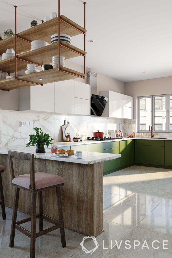 open kitchens-suspended storage