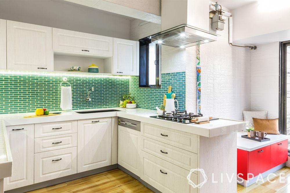 open kitchens-white kitchen-natural light-aqua blue backsplash