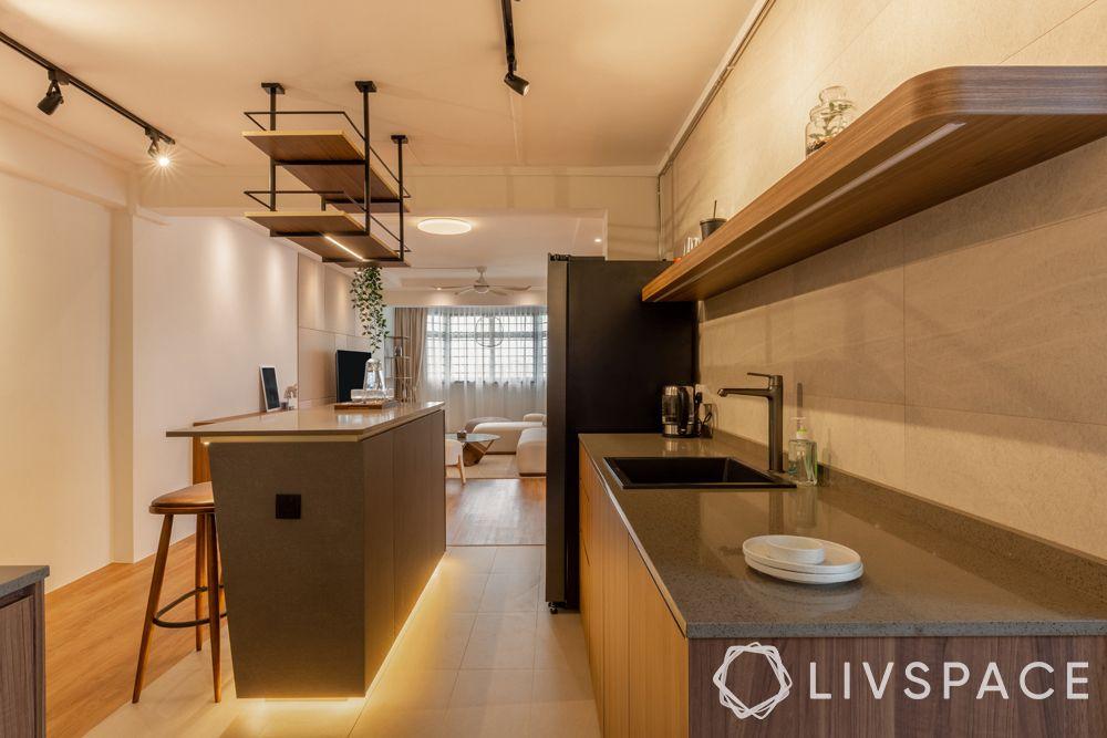 open kitchen concept-open display shelves-floor lighting