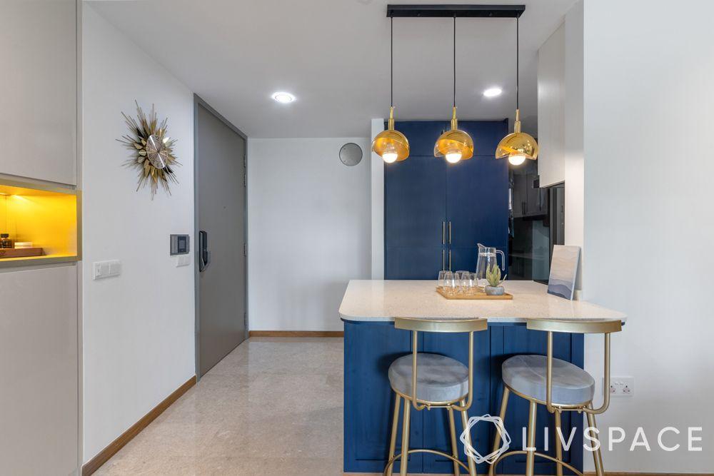 open kitchens-sleek kitchen-pops of blue-lighting