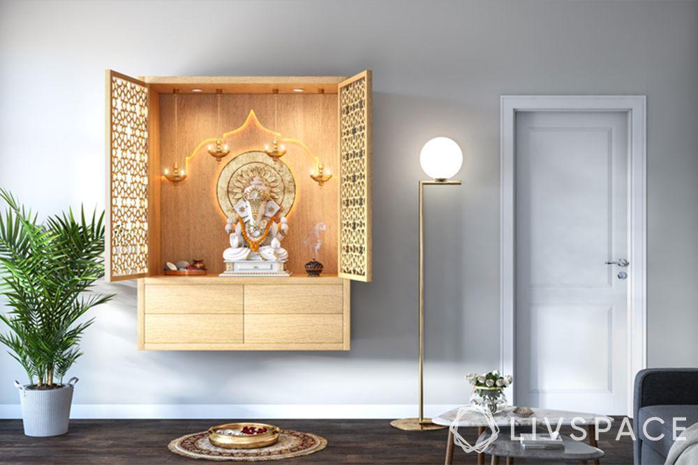 mandir designs for small flats-wall mounted-jali doors
