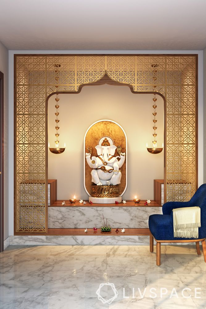 mandir designs for small flats-jali partition-traditional lamps