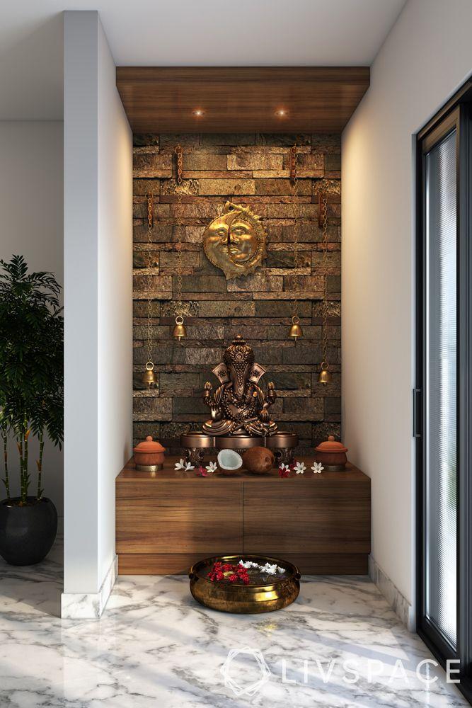 mandir designs for small flats-wooden pooja-temple bells