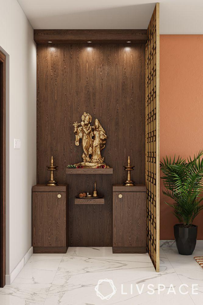 mandir designs for small flats-wooden unit-shelves