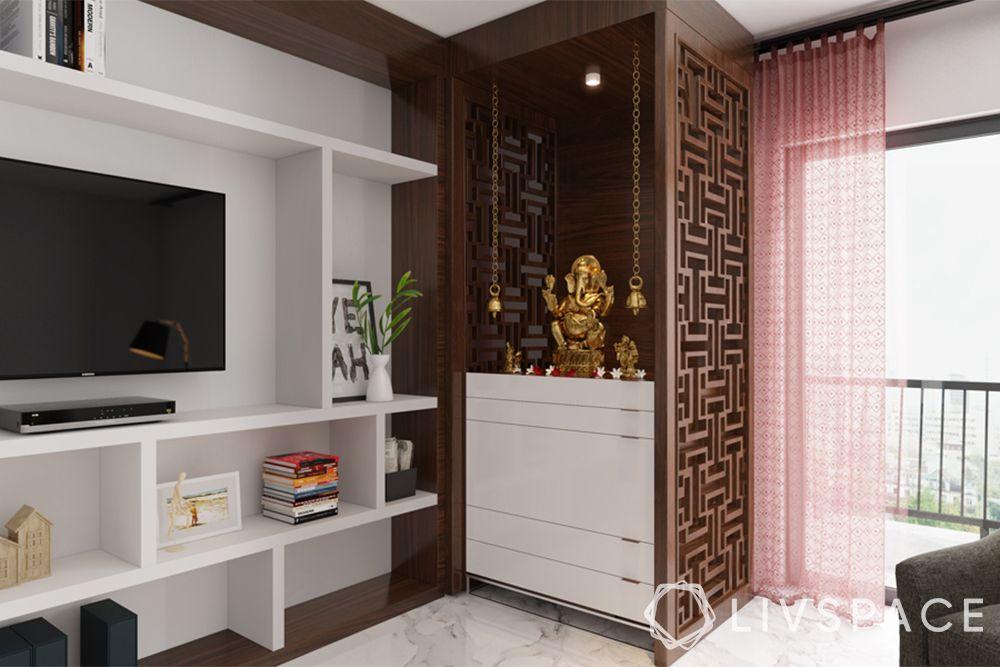 pooja corner-jaali-storage