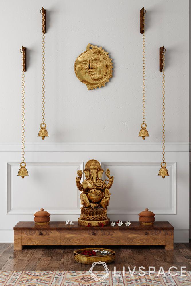 mandir designs for small flats-short wooden unit-bells