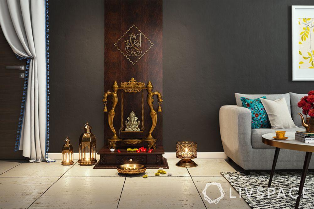 mandir designs for small flats-wooden backdrop-swing