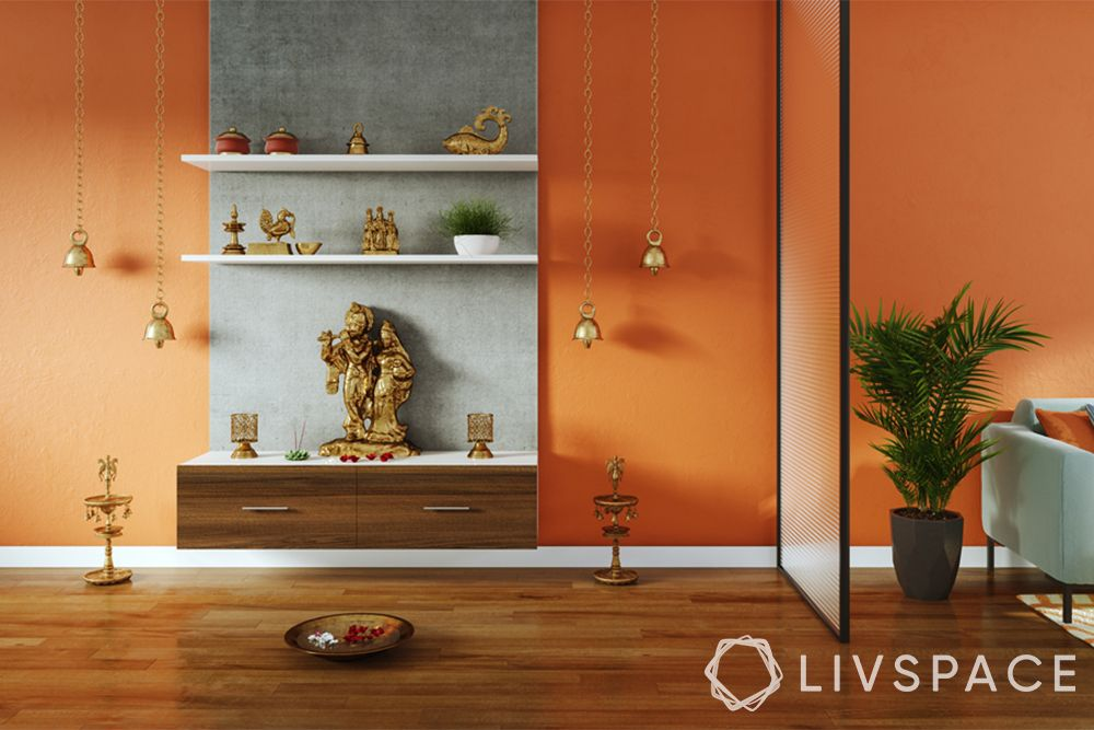 mandir designs for small flats-pop backdrop-pooja with shelves