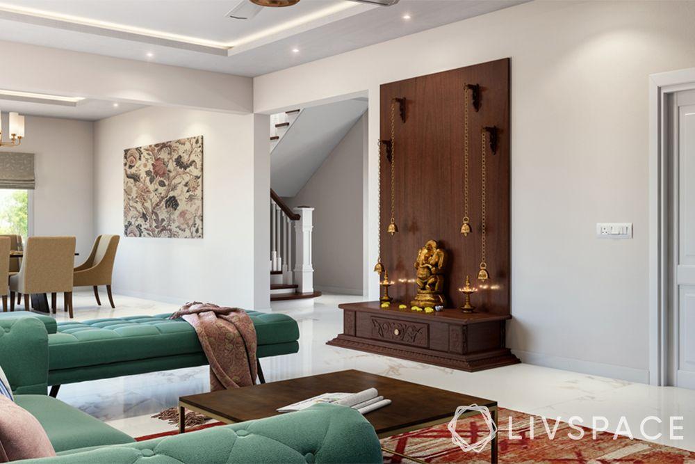 mandir designs for small flats-mahogany wood-pooja corner