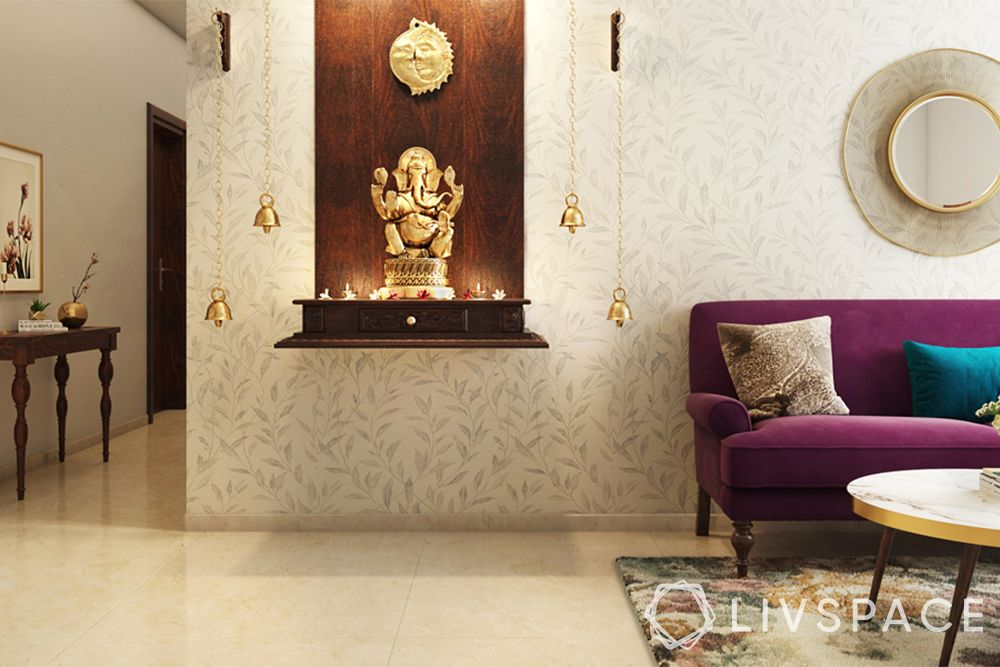 mandir designs for small flats-mounted pooja unit-wooden