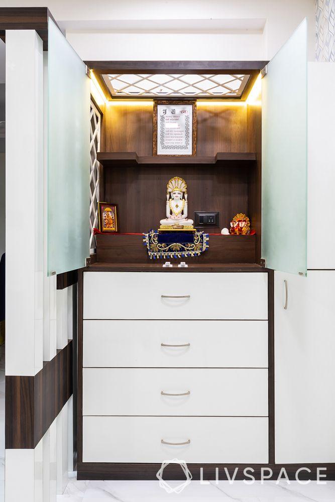 mandir designs for small flats-pooja storage-drawers