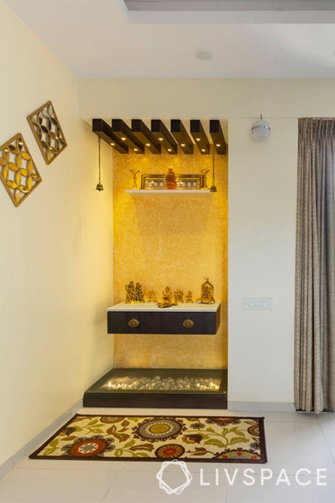 mandir designs for small flats-yellow paint-mat