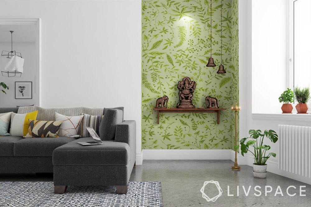 mandir designs for small flats-leaf motifs-green