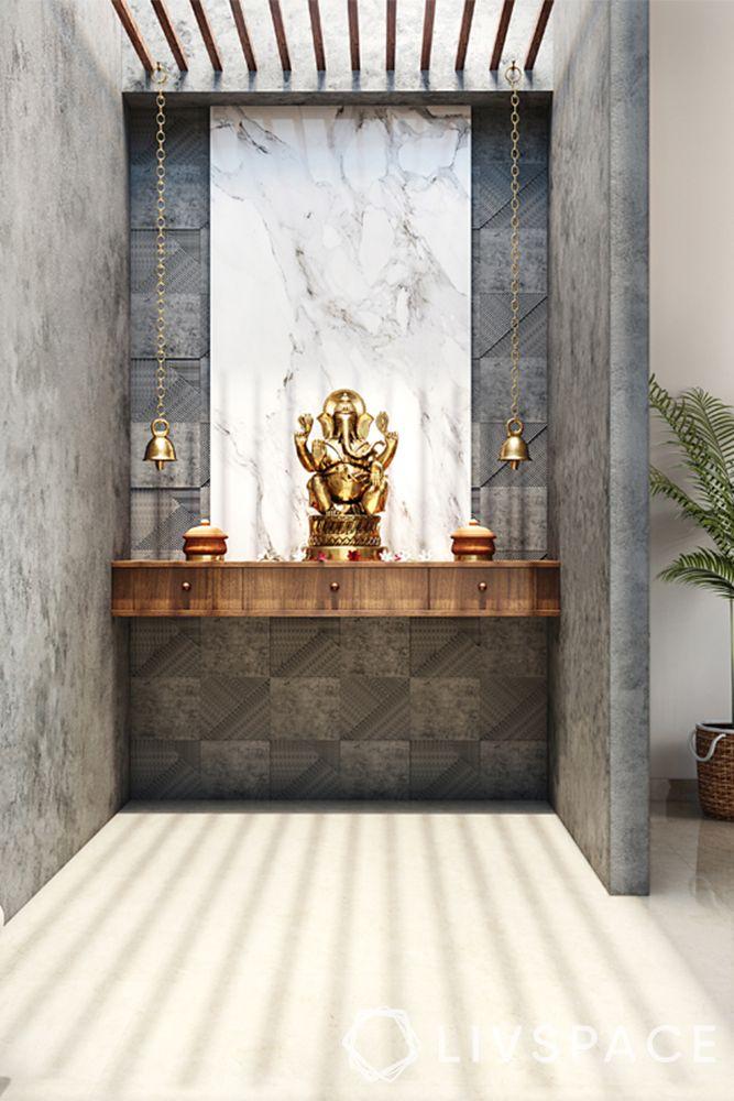 mandir designs for small flats-shelf-grey background