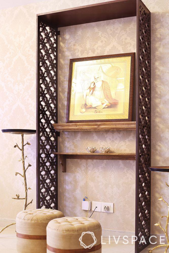 mandir designs for small flats-jali partition-shelf