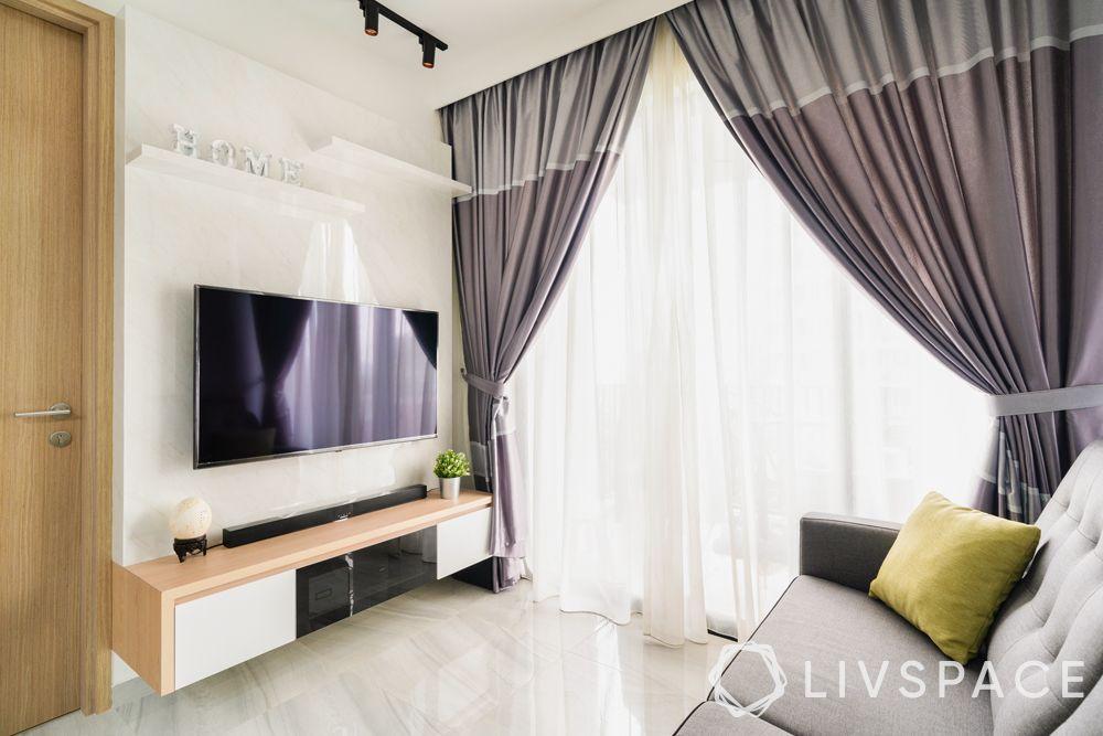 low cost simple TV unit designs-shelves-white back panel