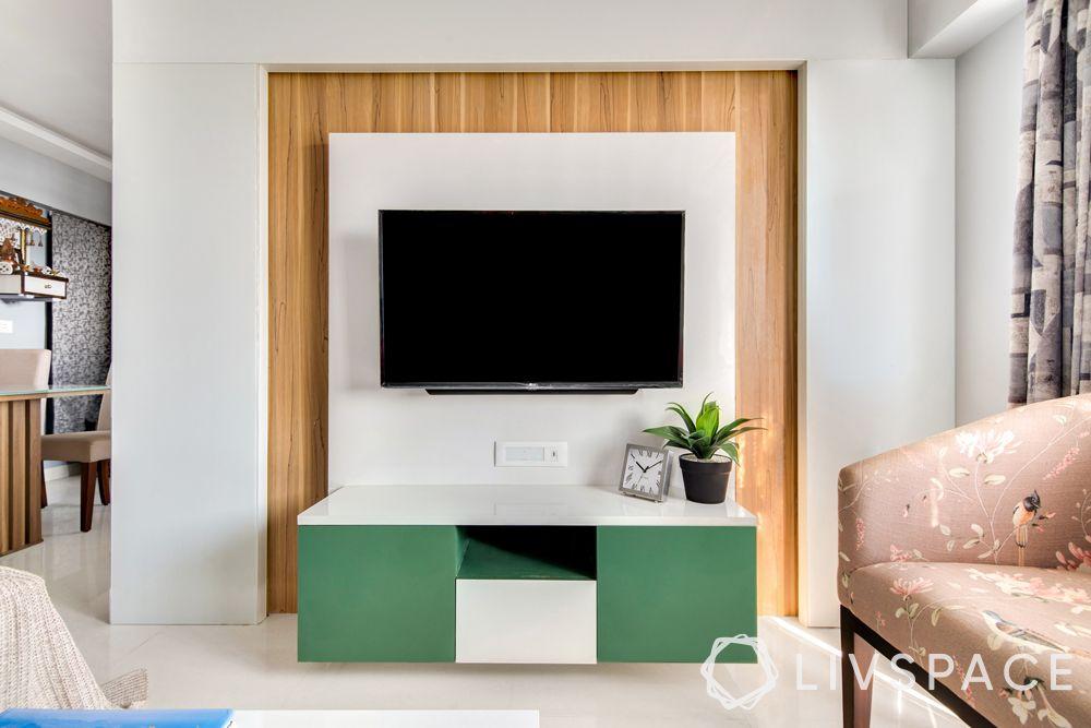 low cost simple TV unit designs-plant-wooden texture
