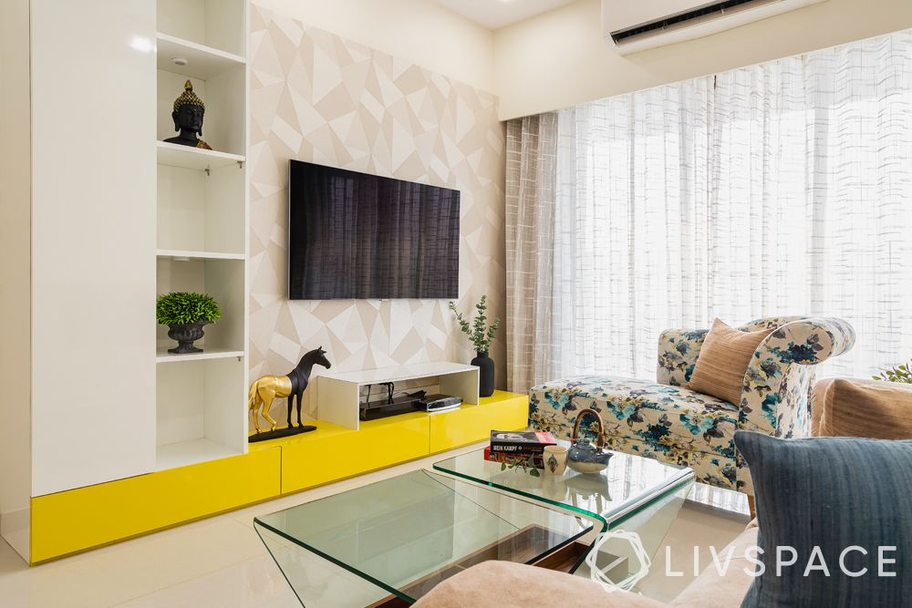 low cost simple TV unit designs-yellow base-textured wallpaper
