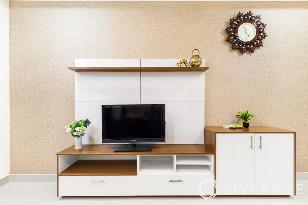low cost simple TV unit designs-wooden finish-white furniture